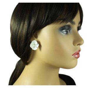 Model with White Enamel Orchid with Gold Center Pierced or Clip Earring - Lilylin Designs