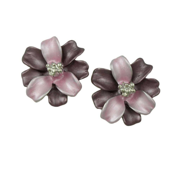 Light and Dark Purple Enamel Flower Pierced Earring - Lilylin Designs