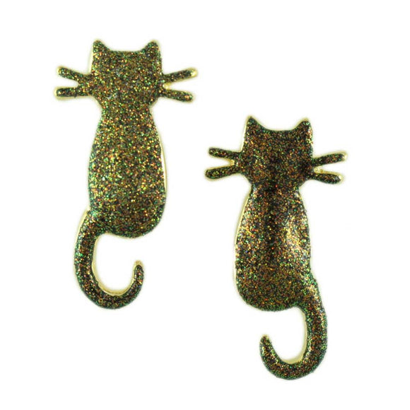 Black Cat with Gold Glitter Halloween Pierced Earring - Lilylin Designs