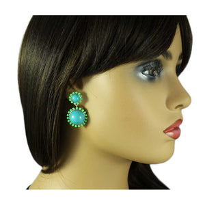 Model with Blue Domes with Green Accents Dangling Pierced Earring - Lilylin Designs