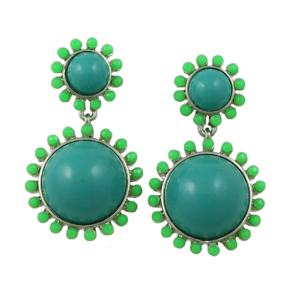 Blue Domes with Green Accents Dangling Pierced Earring - Lilylin Designs