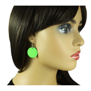 Model with Round Apple Green Textured Disc Pierced Earring - Lilylin Designs