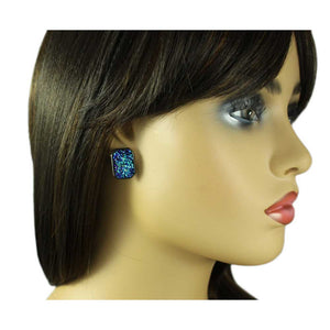 Model with Blue Sparkling Fabric Rectangle Pierced Earring - Lilylin Designs