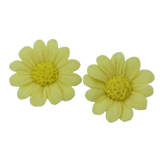 Lemon Yellow Fimo Clay Daisy Pierced Earring - Lilylin Designs