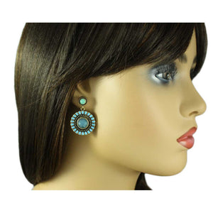 Model with Antique Gold Round Blue Dangling Disc Pierced Earring - Lilylin Designs