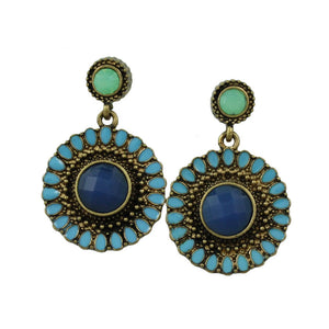 Antique Gold Round Blue Dangling Disc Pierced Earring - Lilylin Designs