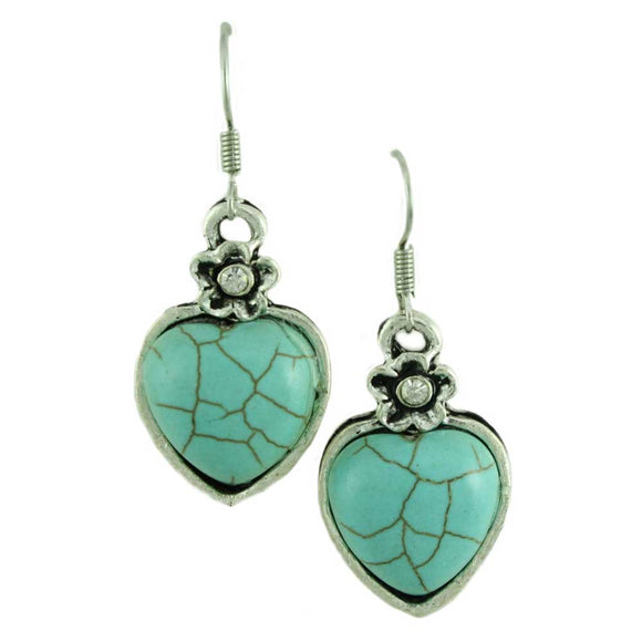 Simulated Turquoise Heart Pierced Earring - Lilylin Designs