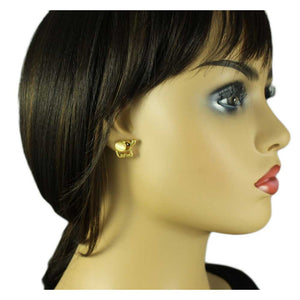 Model with Small Cream Cats Eye Cut-out Cute Elephant Pierced Earring - Lilylin Designs
