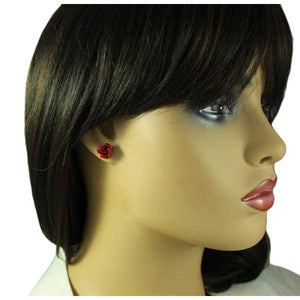 Model with Red Aluminum Rose Stud Pierced Earring
