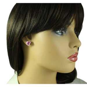 Model with Pink Aluminum Rose Stud Pierced Earring - Lilylin Designs
