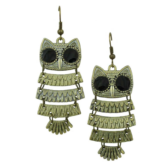 Antique Gold Shimmying Owl Dangle Pierced Earring - Lilylin Designs