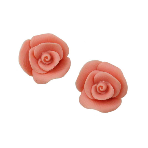 Pink Resin Rose Stud Pierced Earring - Lilylin Designs