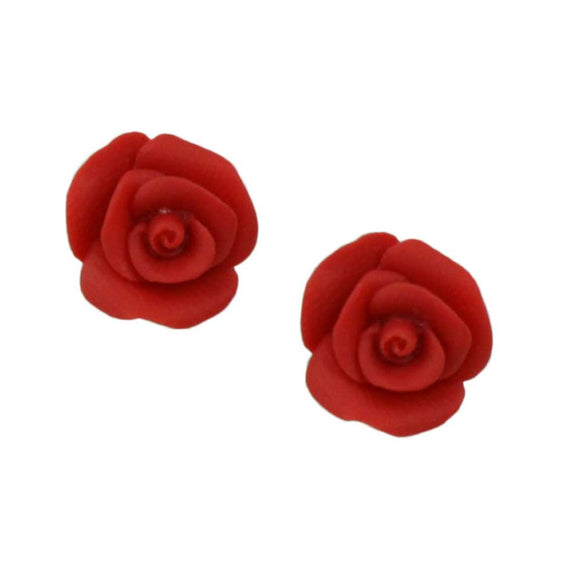 Red Resin Rose Stud Pierced Earring - Lilylin Designs