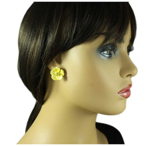 Model with Lemon Yellow Enamel Flower with Gold Center Pierced Earring - Lilylin Designs