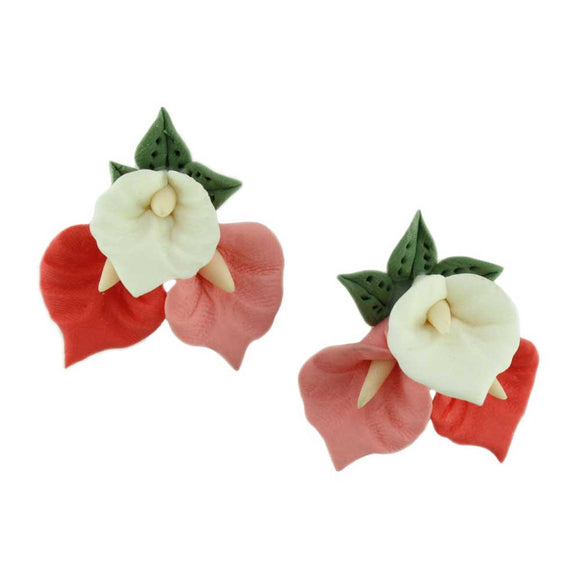 Pink and White Fimo Clay Calla Lilies Pierced Earring - Lilylin Designs