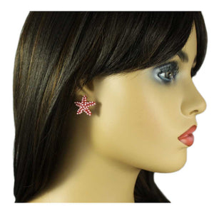 Model with Red with Pink Beads Starfish Pierced Earring - Lilylin Designs