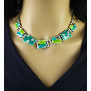 Model with Blue and Green Enamel Rectangles Necklace - Lilylin Designs