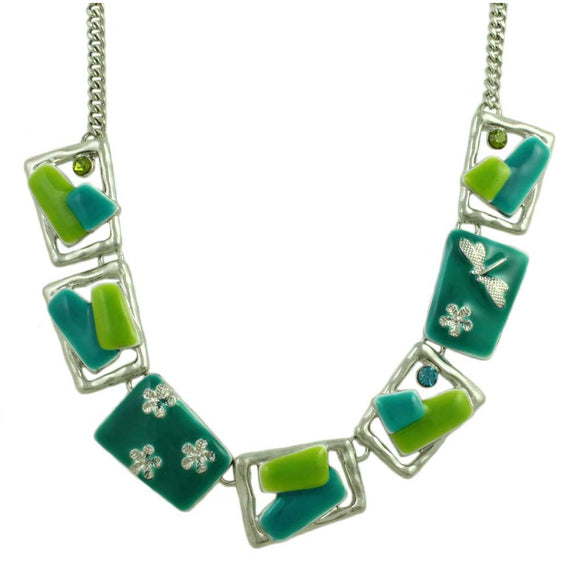 Blue and Green Enamel Rectangles Necklace - Lilylin Designs