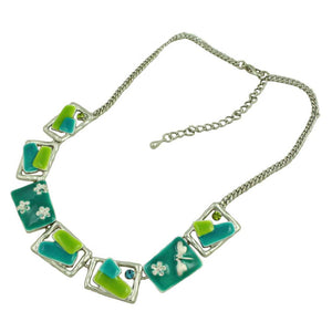 Blue and Green Enamel Rectangles Necklace (whole) - Lilylin Designs