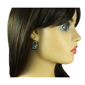 Model with Black and Gray Dark Enamel Squares Pierced Earring - Lilylin Designs