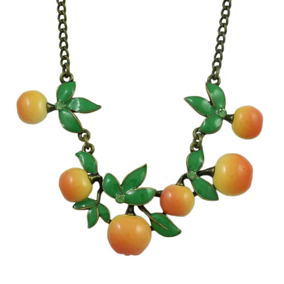 Bunch of Enamel Oranges with Leaves Necklace - Lilylin Designs