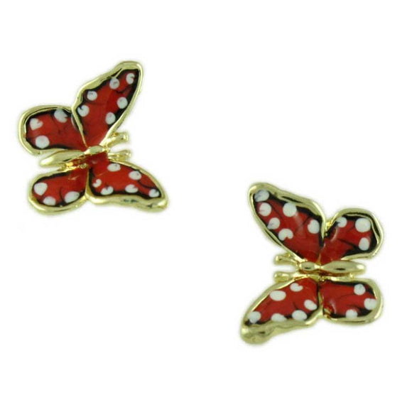 Orange and White Enamel Speckled Butterfly Pierced Earring - Lilylin Designs