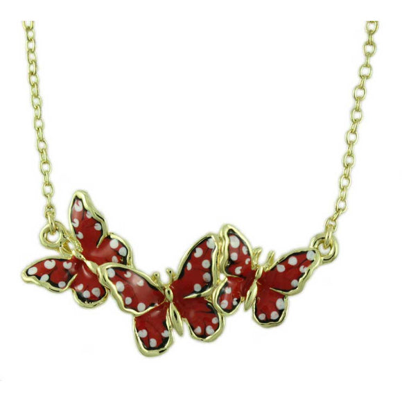 Orange and White Enamel Speckled Butterflies Necklace - Lilylin Designs