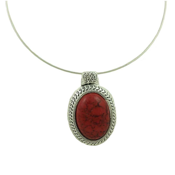 Wire Necklace with Oval Red Turquoise Pendant - Lilylinb Designs