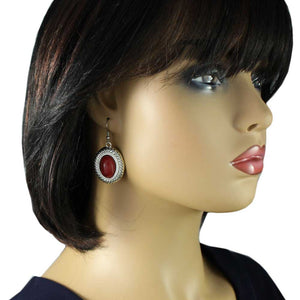 Model with Red Turquoise Oval Dangling Pierced Earring - Lilylin Designs