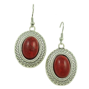 Red Turquoise Oval Dangling Pierced Earring - Lilylin Designs