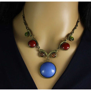 Model with Large Round Blue Stone with Assorted Round Stones Necklace - Lilylin Designs
