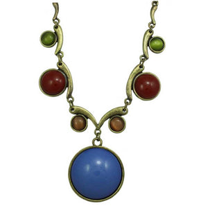 Large Round Blue Stone with Assorted Round Stones Necklace - Lilylin Designs