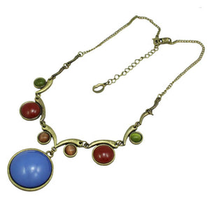 Large Round Blue Stone with Assorted Round Stones Necklace (whole) - Lilylin Designs