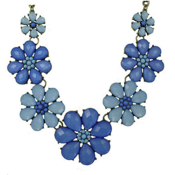 Large Light and Dark Blue Daisies Necklace - Lilylin Designs