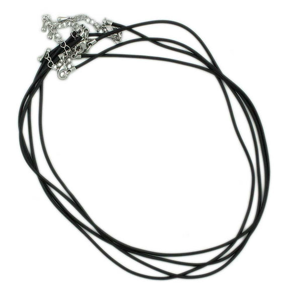 Black Rubber Cord Necklace (Pack of 4) - Lilylin Designs