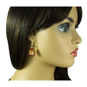 Model with Brown Enamel and Crystal Dangling 3D Egg Pierced Earring - Lilylin Designs