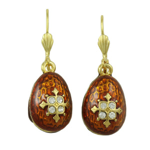 Brown Enamel and Crystal Dangling 3D Egg Pierced Earring - Lilylin Designs