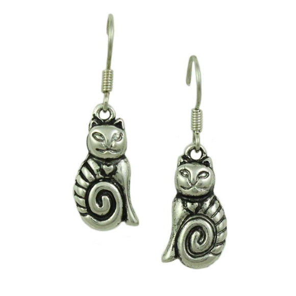 Antique Silver-tone Cat with Long Curled Tail Pierced Earring - Lilylin Designs