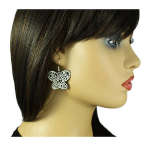 Model 2 with Large Silver Filigree Dangling Butterfly Pierced Earring - Lilylin Designs