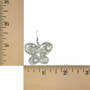 Large Silver Filigree Dangling Butterfly Pierced Earring (sized) - Lilylin Designs