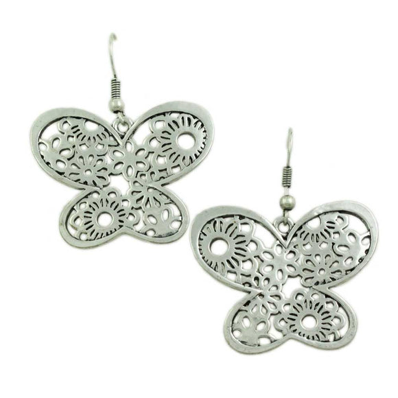 Large Silver Filigree Dangling Butterfly Pierced Earring - Lilylin Designs