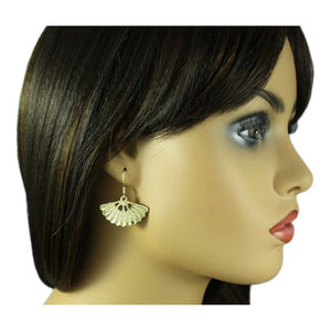 Model with Gold-tone Fan with Embossed Design Dangling Pierced Earring - Lilylin Designs