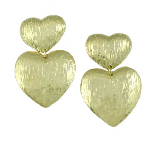Double Gold Textured Puffy Hearts Dangling Pierced Earring - Lilylin Designs