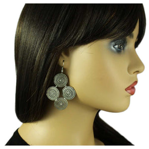 Model with Silver Filigree Discs with Crystals Dangling Pierced Earring - Lilylin Designs