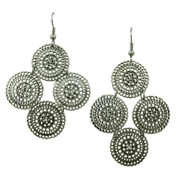Silver Filigree Discs with Crystals Dangling Pierced Earring - Lilylin Designs