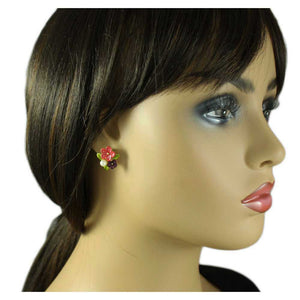Model with Red and Purple Enamel Flowers with Pearl Pierced Earring - Lilylin Designs