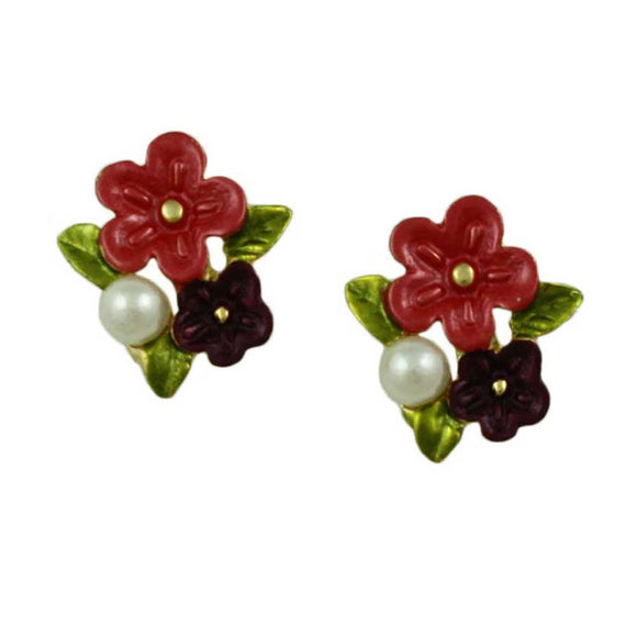 Red and Purple Enamel Flowers with Pearl Pierced Earring - Lilylin Designs