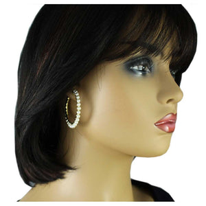 Model with Gold-tone with White Pearls Medium Hoop Pierced Earring - Lilylin Designs