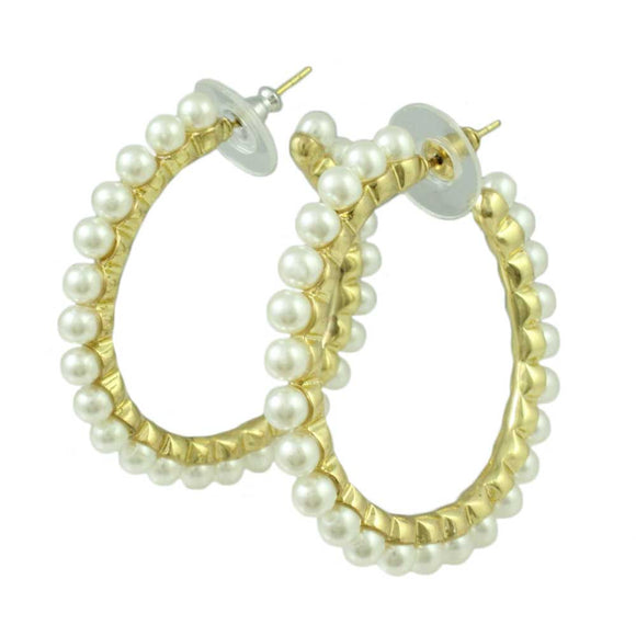 Gold-tone with White Pearls Medium Hoop Pierced Earring - Lilylin Designs