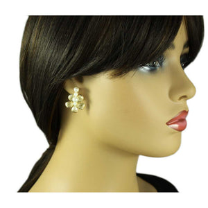 Model with Gold Flower with 4 White Pearl Balls Pierced Earring - Lilylin Designs